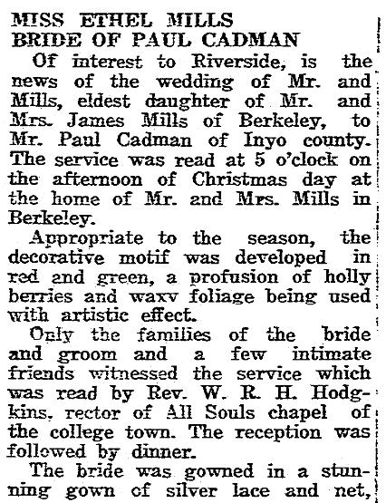 Mills-Cadman wedding notice, Riverside Independent Enterprise newspaper article 1 January 1920