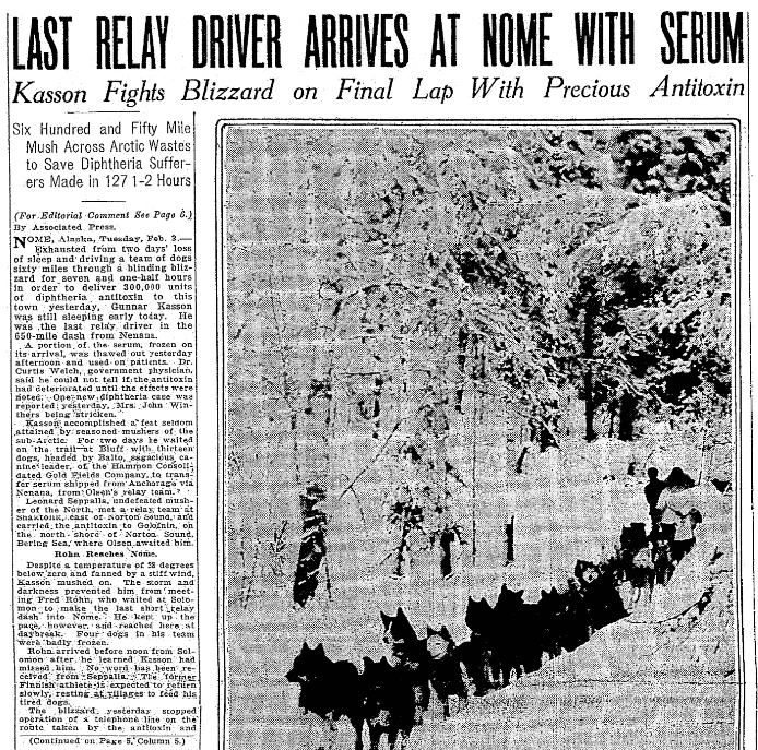 An article about the 1925 diphtheria serum dogsled relay in Alaska, Seattle Daily Times newspaper article 3 February 1925