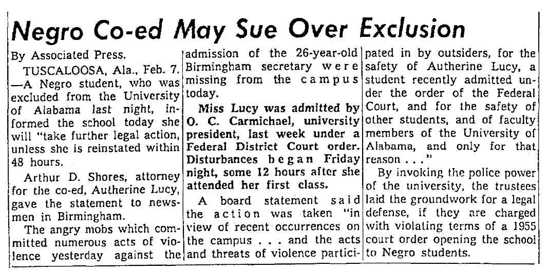 An article about Autherine Lucy, Seattle Daily Times newspaper article 7 February 1956