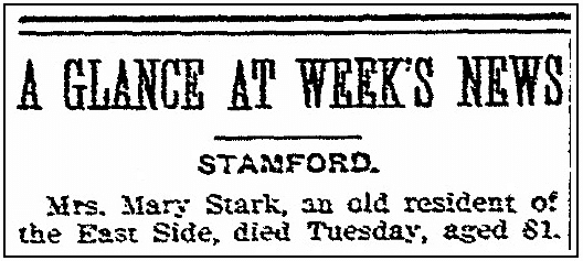 An obituary for Mary Stark, Stamford Advocate newspaper article 5 February 1903