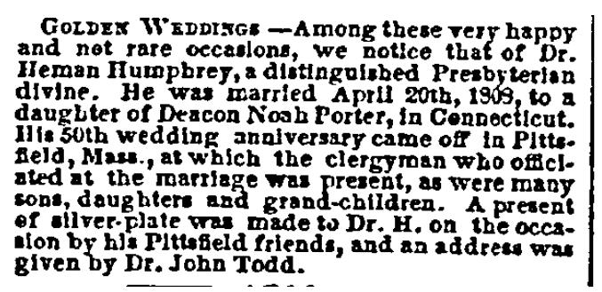 Humphrey wedding anniversay notice, Sun newspaper article 4 June 1858