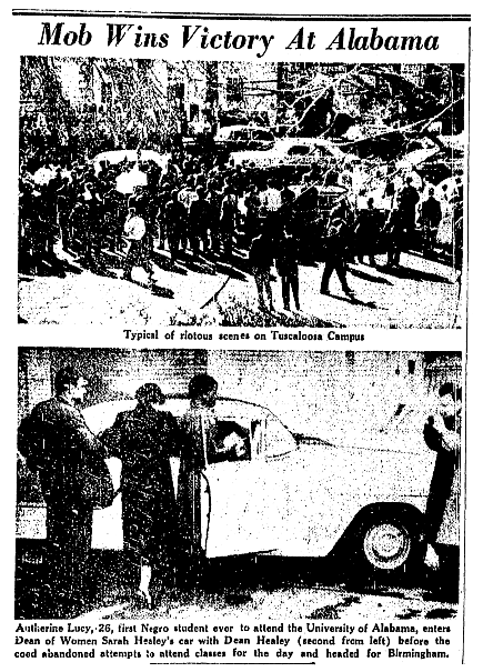 Photos from an article about Autherine Lucy, Trenton Evening Times newspaper article 7 February 1956