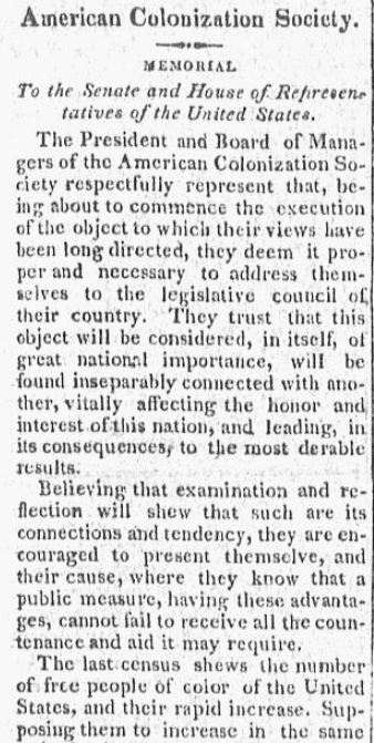 An article about the American Colonization Society, Weekly Messenger newspaper article 21 March 1820