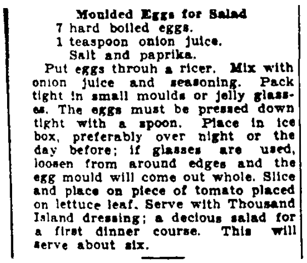 A salad recipe, Augusta Chronicle newspaper article 10 March 1935