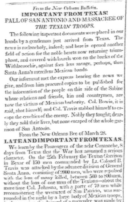 An article about the Battle of the Alamo, Baltimore Gazette and Daily Advertiser newspaper article 11 April 1836