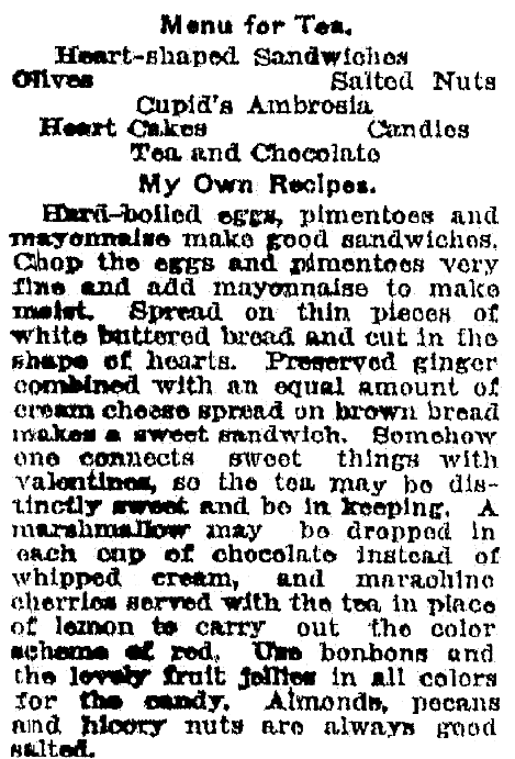 A recipe for egg salad, Bay City Times newspaper article 7 February 1921