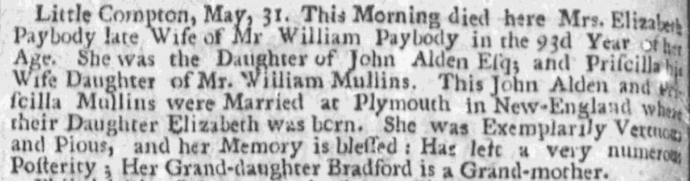 An obituary for Elizabeth Paybody, Boston News-Letter newspaper article 17 June 1717