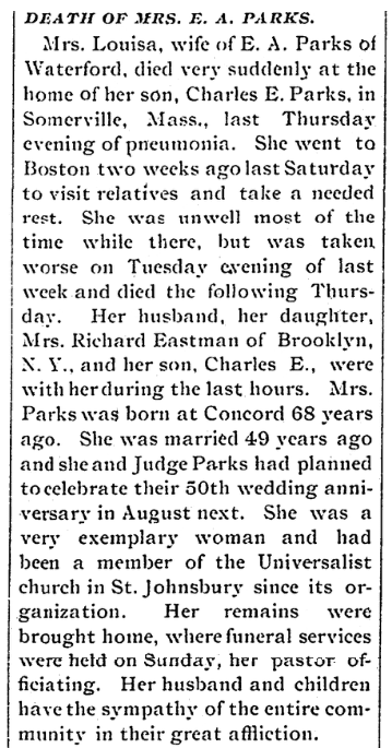 An obituary for Louisa Parks, Caledonian newspaper article 18 June 1891
