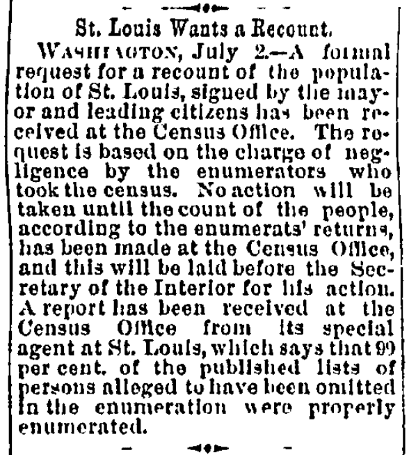An article about the 1890 U.S. Federal Census, Charlotte News newspaper article 4 July 1890