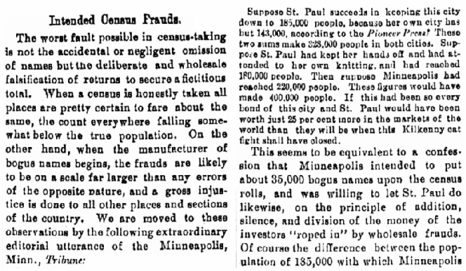An article about the 1890 U.S. Federal Census, Cleveland Leader newspaper article 20 July 1890