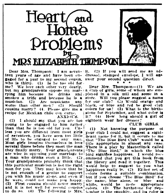 An article about cousins marrying, Daily Illinois State Register newspaper article 30 April 1912
