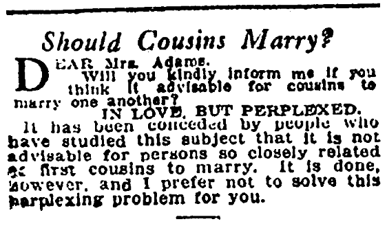 An article about cousins marrying, Denver Post newspaper article 13 February 1910