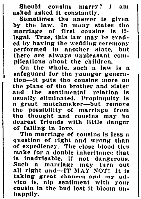 An article about cousins marrying, Denver Rocky Mountain News newspaper article 20 January 1914