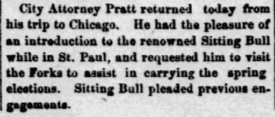 An article about Sitting Bull, Grand Forks Daily Herald newspaper article 20 March 1884