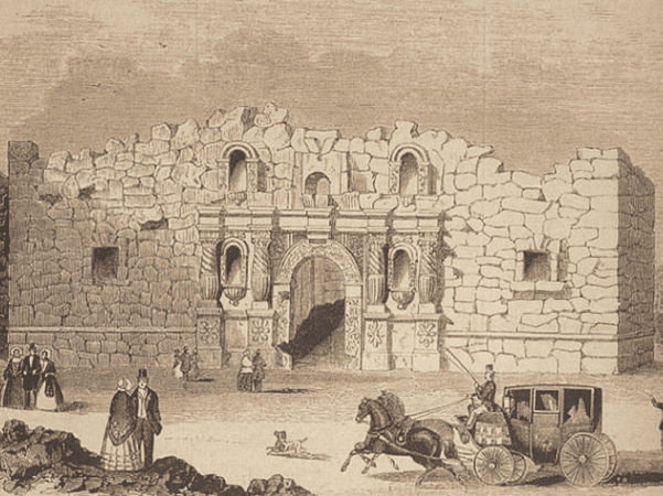 "Illustration: the Alamo Mission in San Antonio, Texas. It was first printed in 1854 in Gleason's Pictorial Drawing Room Companion. Credit: Frank Thompson, ""The Alamo"" (2005), p. 106; Wikimedia Commons."