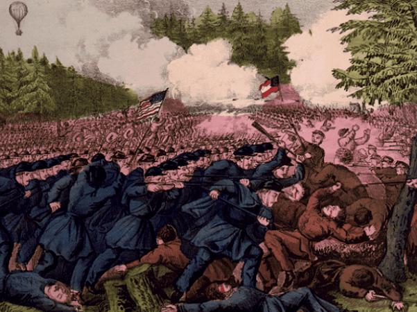 "Illustration: ""The Battle of Fair Oaks, Va."" by Currier and Ives (1862). Credit: Library of Congress, Prints and Photographs Division."