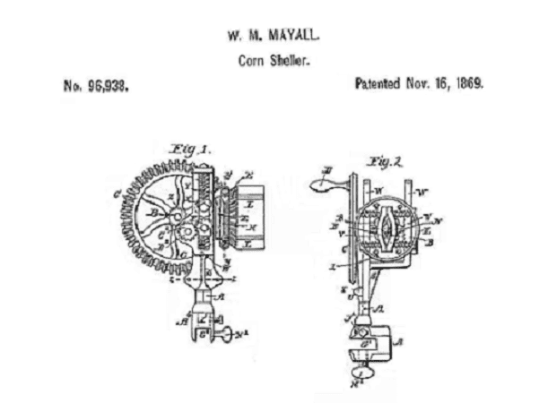 Illustration: the patent drawing of William Mayall's invention of a corn sheller