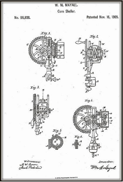 Illustration: a drawing of William Mayall's invention of a corn sheller