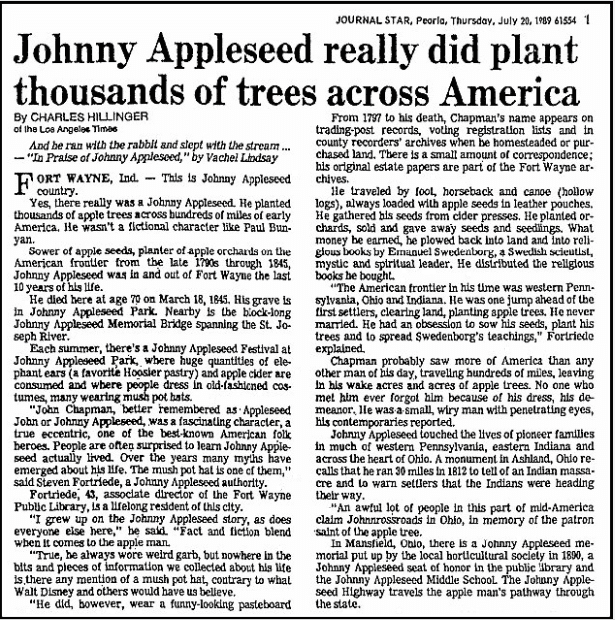 An article about Johnny Appleseed, Journal Star newspaper article 20 July 1989