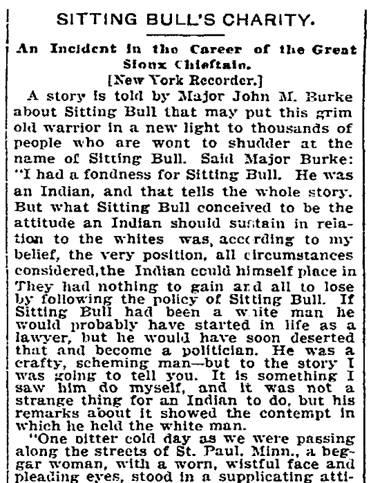 An article about Sitting Bull, Kansas City Times newspaper article 23 July 1894
