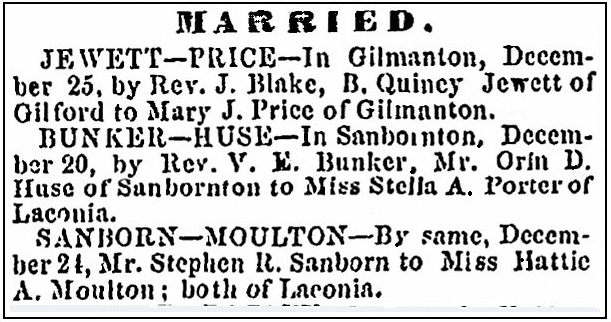 Wedding announcements, Lake Village Times newspaper article 30 December 1871