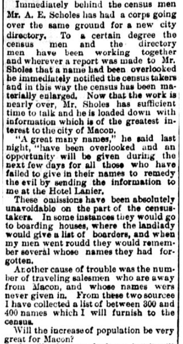 An article about the 1890 U.S. Federal Census, Macon Telegraph newspaper article 15 June 1890
