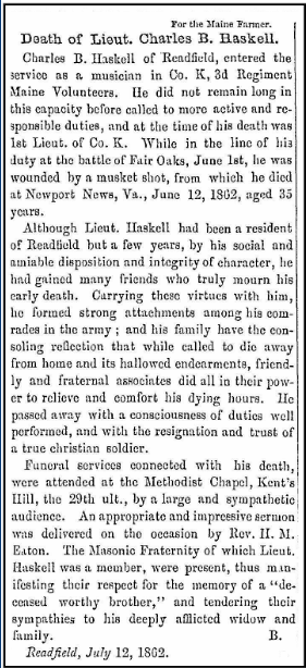 An obituary for Charles B. Haskell, Maine Farmer newspaper article 17 July 1862