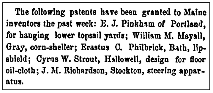 An article about patents, Maine Farmer newspaper article 27 November 1869