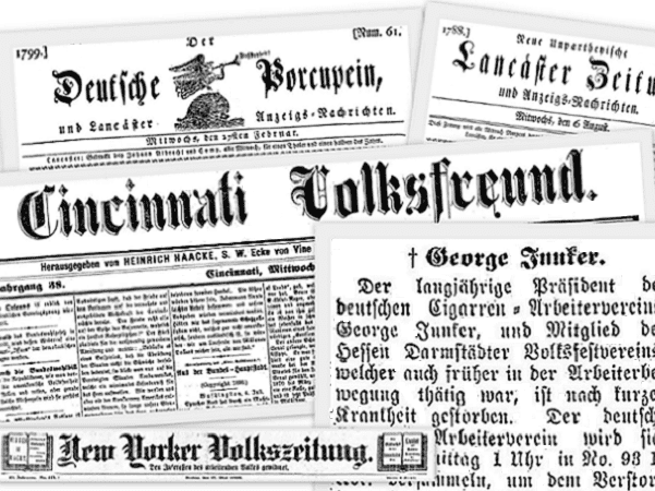 A montage of German-American newspapers available in GenealogyBank's online Historical Newspaper Archives