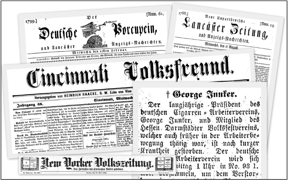 A montage of German-language newspapers available in GenealogyBank's Historical Newspaper Archives