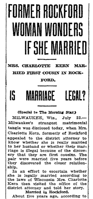 An article about cousins marrying, Morning Star newspaper article 24 July 1915