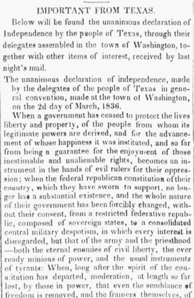 An article about the Texas Declaration of Independence, National Banner and Nashville Whig newspaper article 1 April 1836