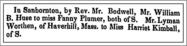 Wedding announcements, New Hampshire Observer newspaper article 27 December 1833