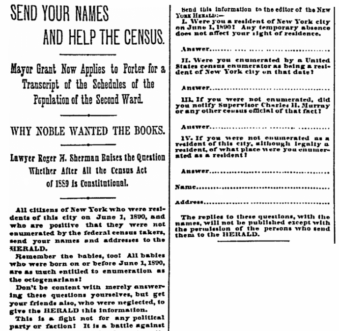 An article about the 1890 U.S. Federal Census, New York Herald newspaper article 7 November 1890