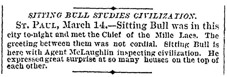 An article about Sitting Bull, New York Tribune newspaper article 15 March 1884