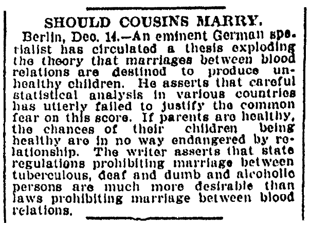 An article about cousins marrying, Omaha World-Herald newspaper article 15 December 1907
