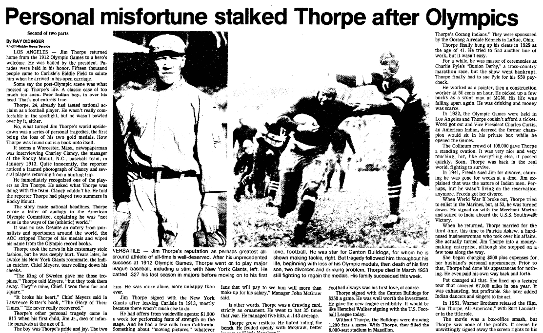 An article about Jim Thorpe, Oregonian newspaper article 20 January 1983