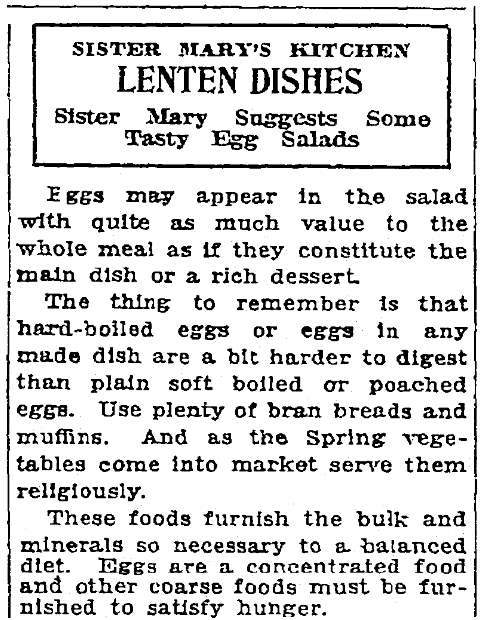An article with recipes for Easter, Patriot (Harrisburg, Pennsylvania), 17 March 1922