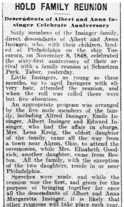 An article about the Insinger family reunion, Philadelphia Inquirer newspaper article 9 November 1909