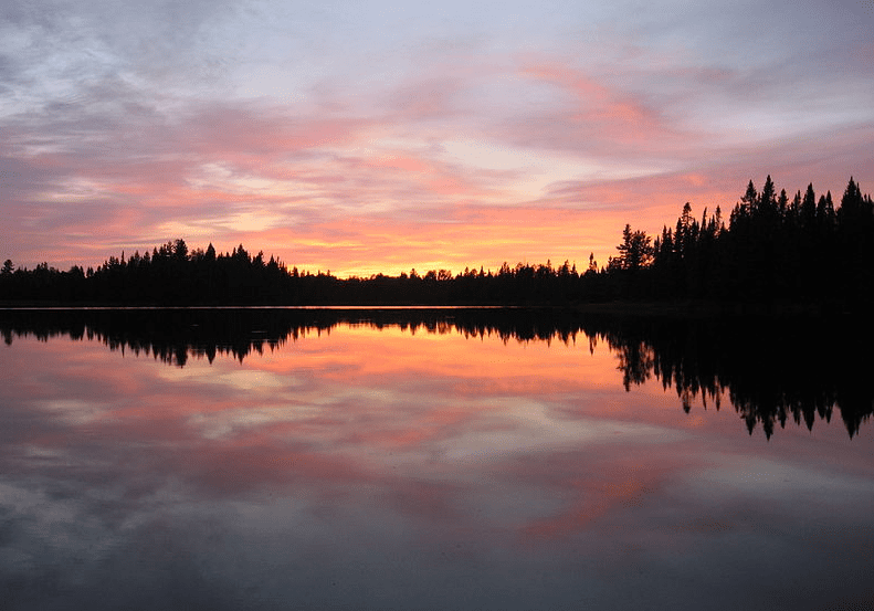 Photo: sunset over Pose Lake, Boundary Waters Canoe Area Wilderness, Minnesota