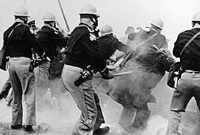 "Photo: on ""Bloody Sunday,"" Alabama police attack Selma-to-Montgomery marchers, 7 March 1965"