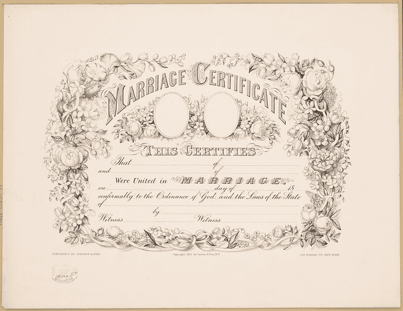 Photo: marriage certificate created by Currier & Ives, c. 1875