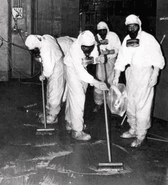 Photo: Three Mile Island personnel cleaning up radioactive contamination in the auxiliary building