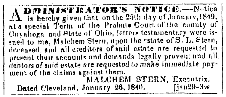A probate notice, Plain Dealer newspaper article 13 February 1849