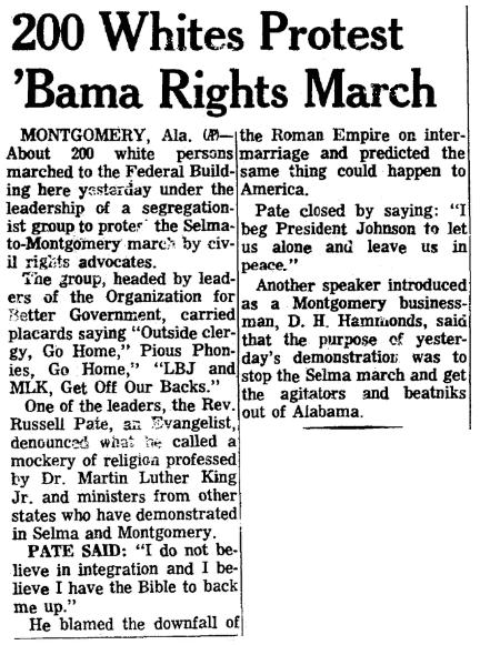 An article about the Selma-to-Montgomery civil rights march, Plain Dealer newspaper article 21 March 1965