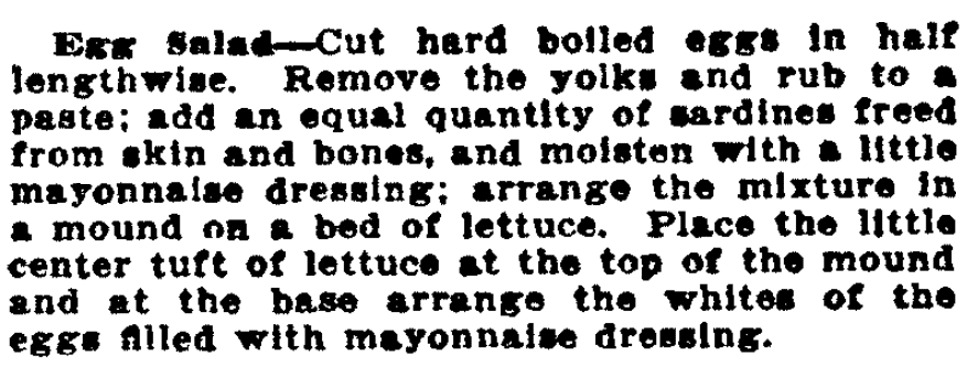 A recipe for egg salad, San Francisco Call Bulletin newspaper article 15 October 1911