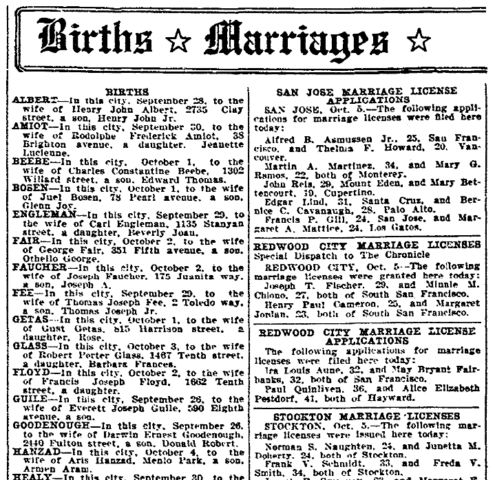 Marriage license notices, San Francisco Chronicle newspaper article 6 October 1927