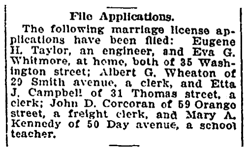 Marriage license notices, Springfield Union newspaper article 25 September 1912