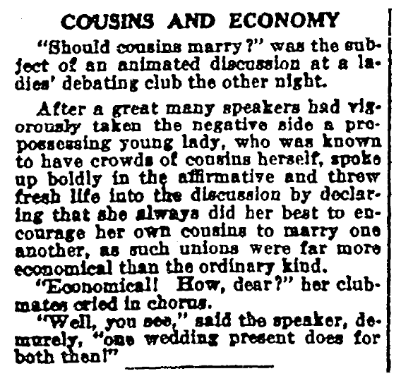 An article about cousins marrying, Sun newspaper article 18 June 1916