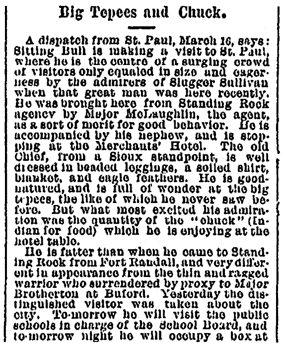 An article about Sitting Bull, Times-Picayune newspaper article 22 March 1884